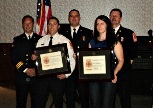 Presentation of the Life Safety Award: (Left to Right) Assistant Chief Garrett Picci, Lieutenant John Lombardi, Deputy Chief Josh Krize, Police Officer Amanda Sears, Chief Bill Davin.