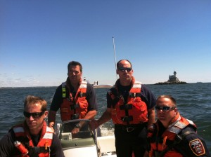 FFD Marine 7 training off Penfield Lighthouse with FF Catandella, LT Caisse, FF Schumann and LT Greenhaw