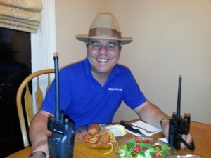 Two radios play quietly during dinner time.  I don't wear a hat at dinner but I didn't think you'd recognize me without it!