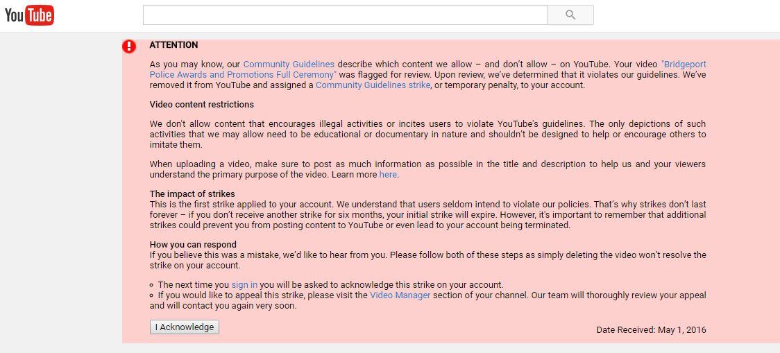 Youtube Violation on Police Awards