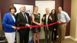 Owner Katie Vanovitch along with First Selectman Michael Tetreau and Fairfield Chamber Of Commerce President Beverly A. Balaz cut the ribbon to Fairfield's Senior Helpers